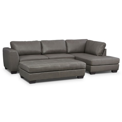 Ciera Gray 2-Piece Right-Facing Sectional and Cocktail Ottoman