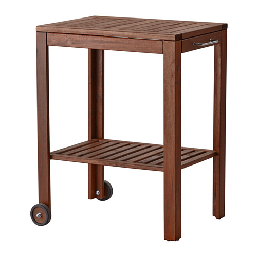 ÄPPLARÖ / KLASEN Serving cart, outdoor - brown stained