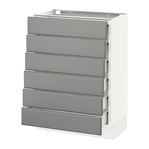 SEKTION Base cabinet/6 fronts/6 low drawers - white, Bodbyn gray, 24x15x30