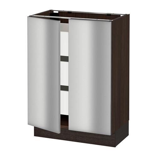 SEKTION Base cabinet w/2 doors & 3 drawers - wood effect brown, Grevsta stainless steel, 24x15x30