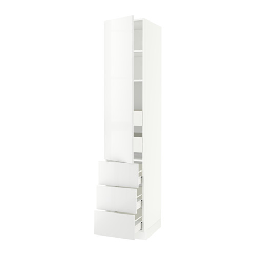 SEKTION High cabinet w/door & 5 drawers - white, Ringhult high gloss white, 18x24x90