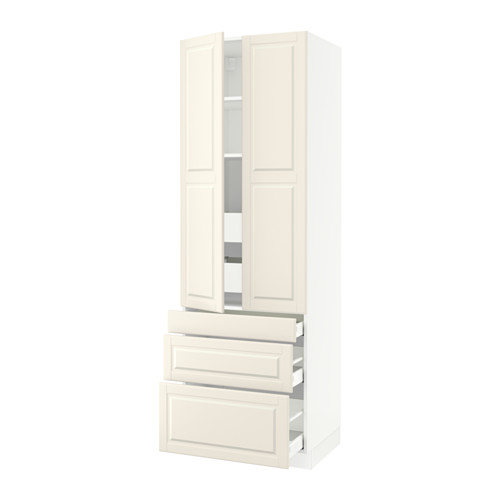 SEKTION High cabinet w/2 doors & 5 drawers - white, Bodbyn off-white, 30x24x90